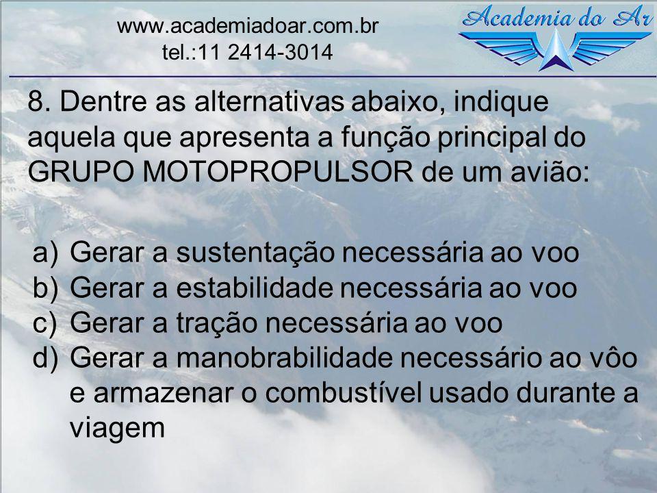 8. Dentre as alternativas abaixo, indique aquela que apresenta a função principal do GRUPO MOTOPROPULSOR de um avião: www.academiadoar.com.br tel.:11