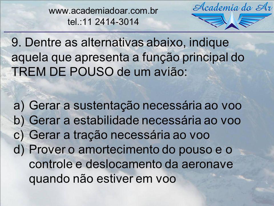 9. Dentre as alternativas abaixo, indique aquela que apresenta a função principal do TREM DE POUSO de um avião: www.academiadoar.com.br tel.:11 2414-3