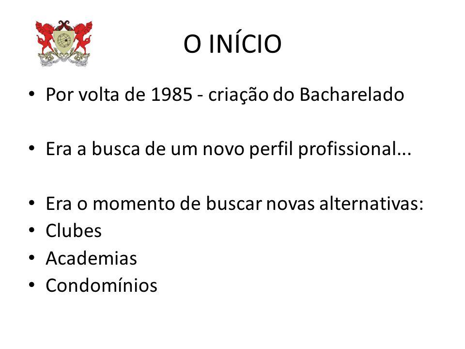 O INÍCIO Por volta de 1985 - criação do Bacharelado Era a busca de um novo perfil profissional... Era o momento de buscar novas alternativas: Clubes A