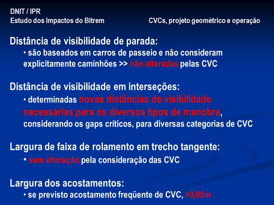 DNIT / IPR Estudo dos Impactos do Bitrem CVCs, projeto geométrico e operação Distância de visibilidade de parada: são baseados em carros de passeio e