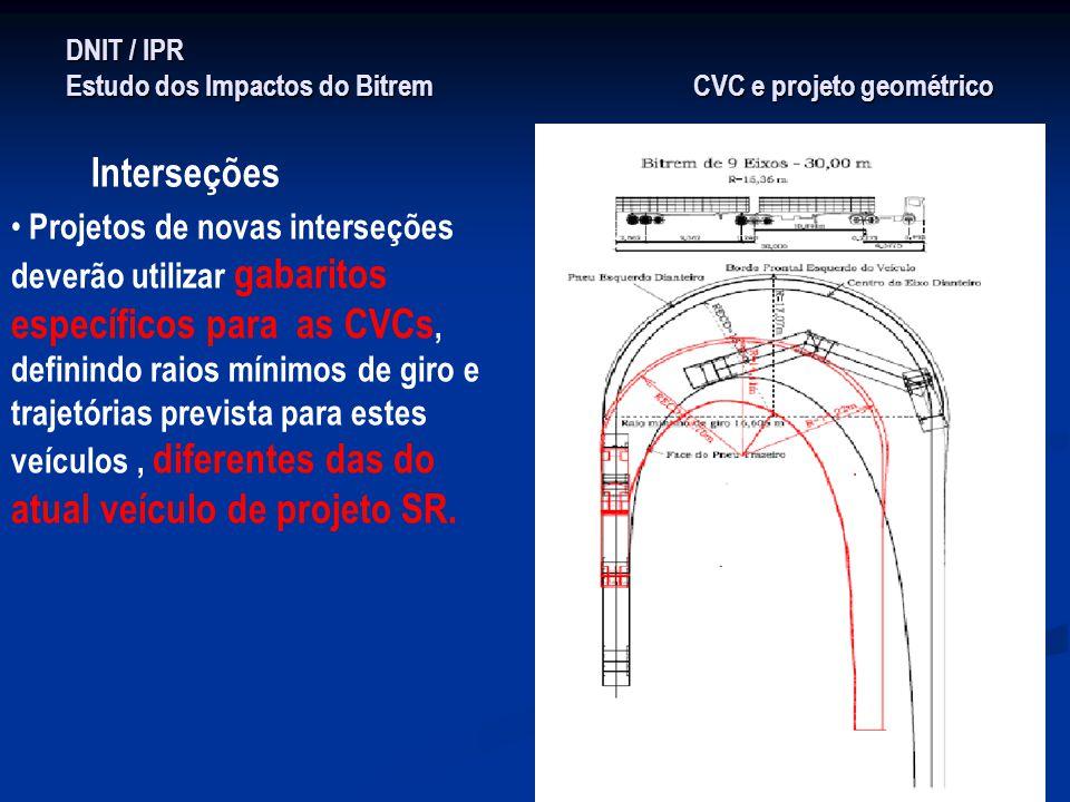 DNIT / IPR Estudo dos Impactos do Bitrem CVC e projeto geométrico Interseções Projetos de novas interseções deverão utilizar gabaritos específicos par