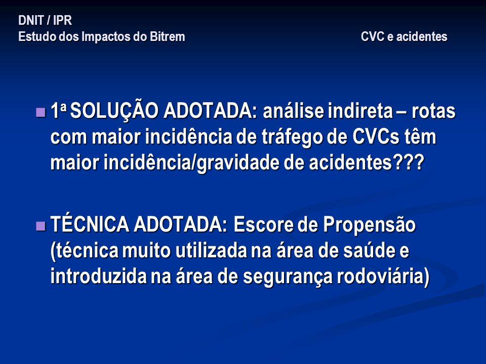 DNIT / IPR Estudo dos Impactos do Bitrem CVC e acidentes 1 a SOLUÇÃO ADOTADA: análise indireta – rotas com maior incidência de tráfego de CVCs têm mai