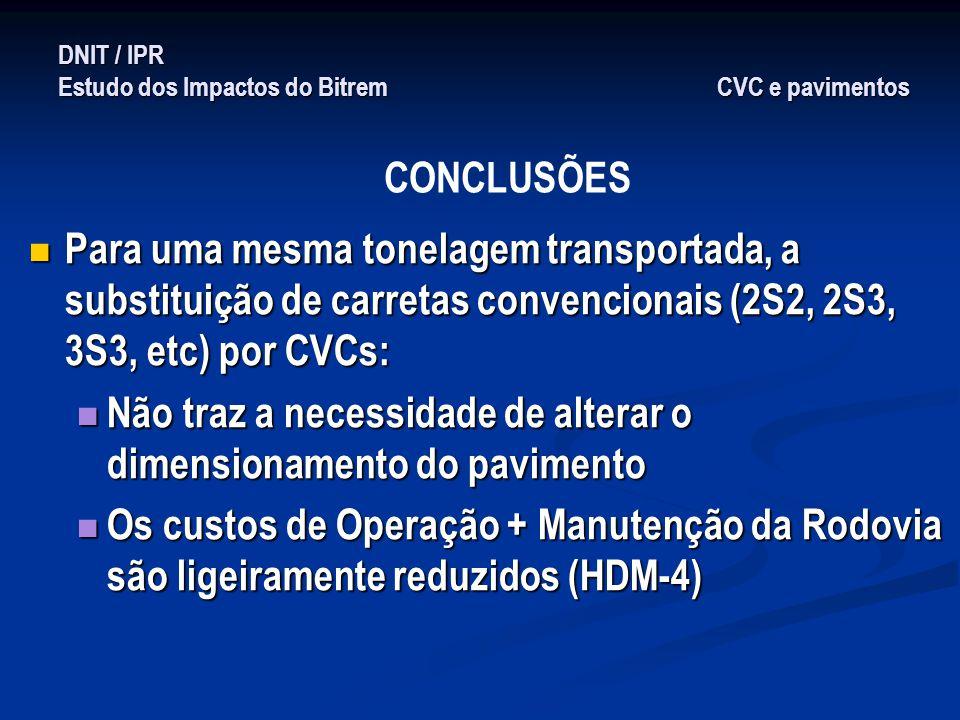 DNIT / IPR Estudo dos Impactos do Bitrem CVC e pavimentos Para uma mesma tonelagem transportada, a substituição de carretas convencionais (2S2, 2S3, 3