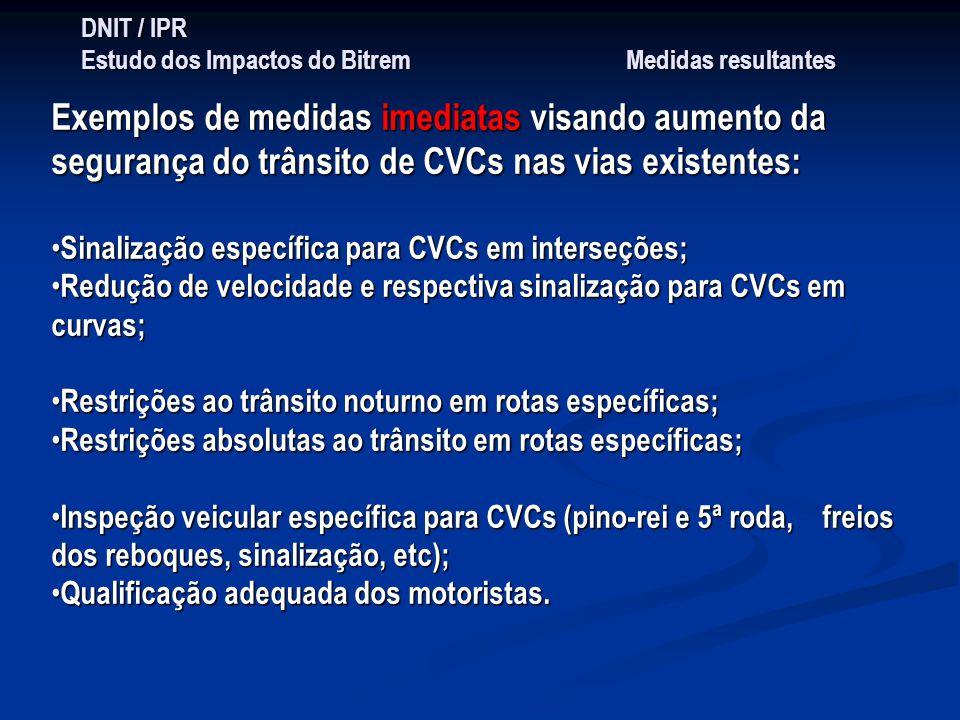 DNIT / IPR Estudo dos Impactos do Bitrem Medidas resultantes Exemplos de medidas imediatas visando aumento da segurança do trânsito de CVCs nas vias e