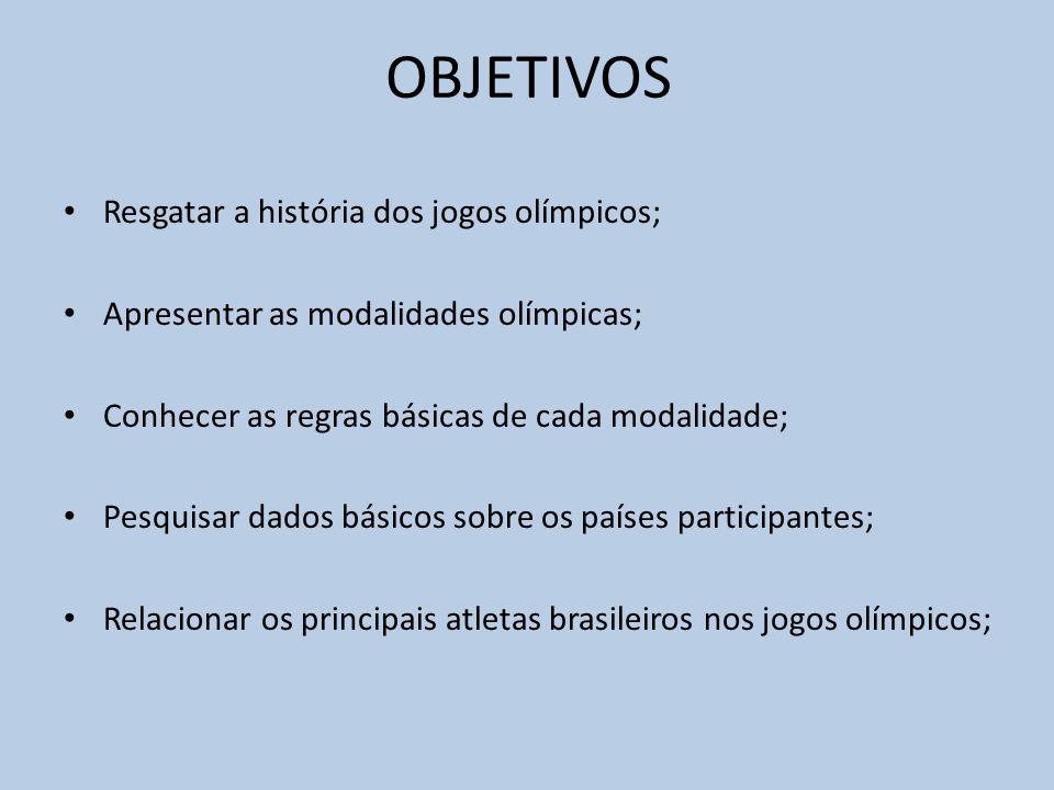 OBJETIVOS Resgatar a história dos jogos olímpicos; Apresentar as modalidades olímpicas; Conhecer as regras básicas de cada modalidade; Pesquisar dados básicos sobre os países participantes; Relacionar os principais atletas brasileiros nos jogos olímpicos;