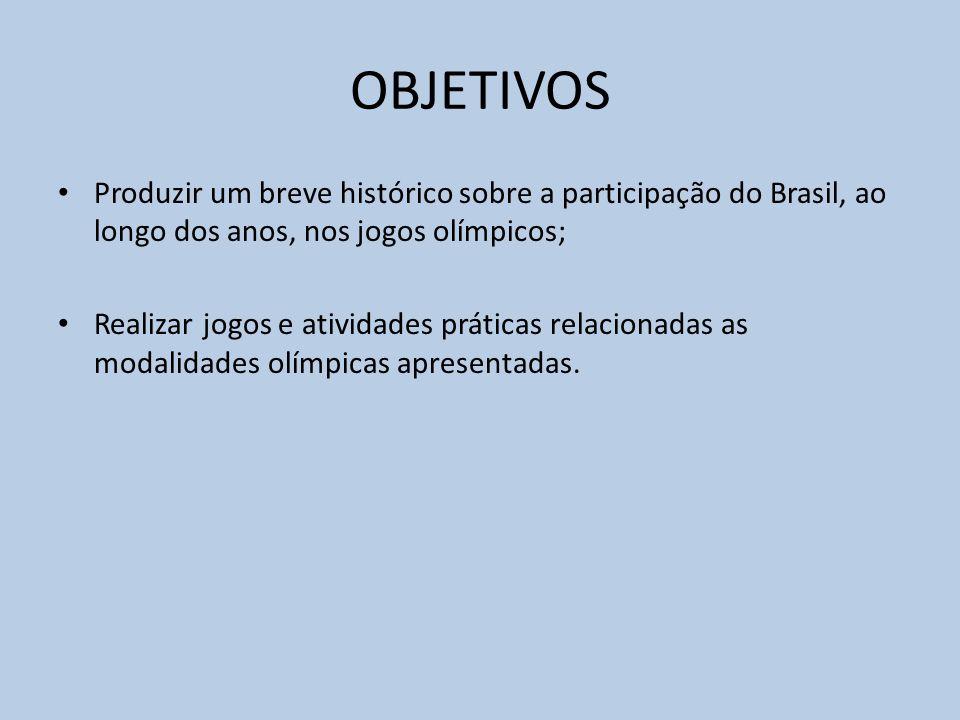 OBJETIVOS Produzir um breve histórico sobre a participação do Brasil, ao longo dos anos, nos jogos olímpicos; Realizar jogos e atividades práticas relacionadas as modalidades olímpicas apresentadas.