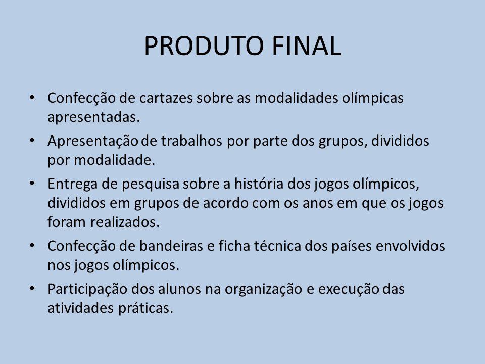 PRODUTO FINAL Confecção de cartazes sobre as modalidades olímpicas apresentadas.