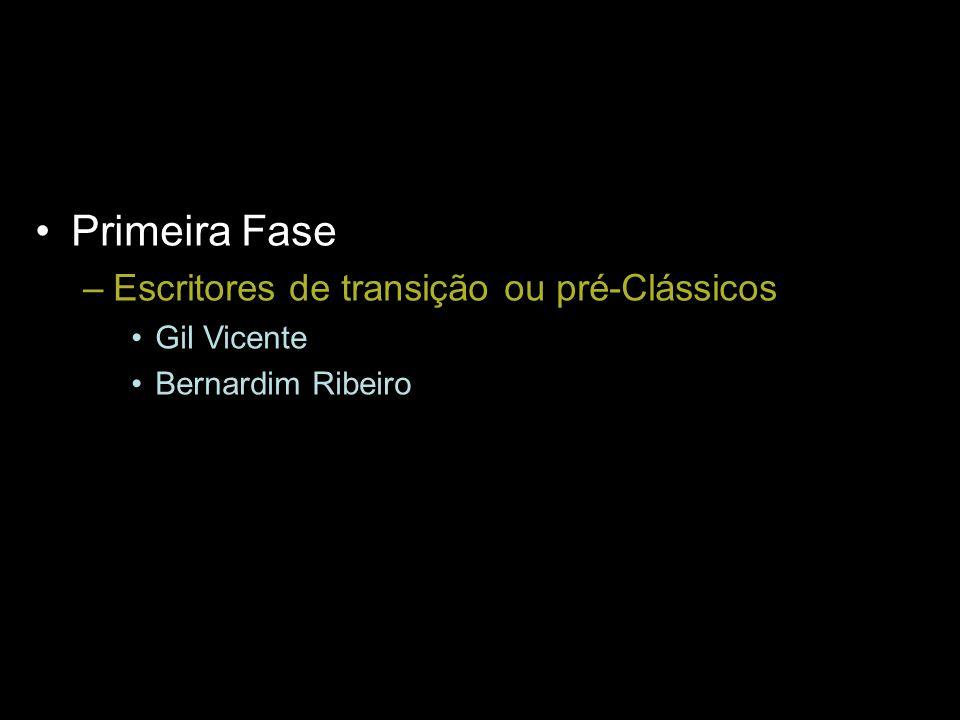 Primeira Fase –Escritores de transição ou pré-Clássicos Gil Vicente Bernardim Ribeiro