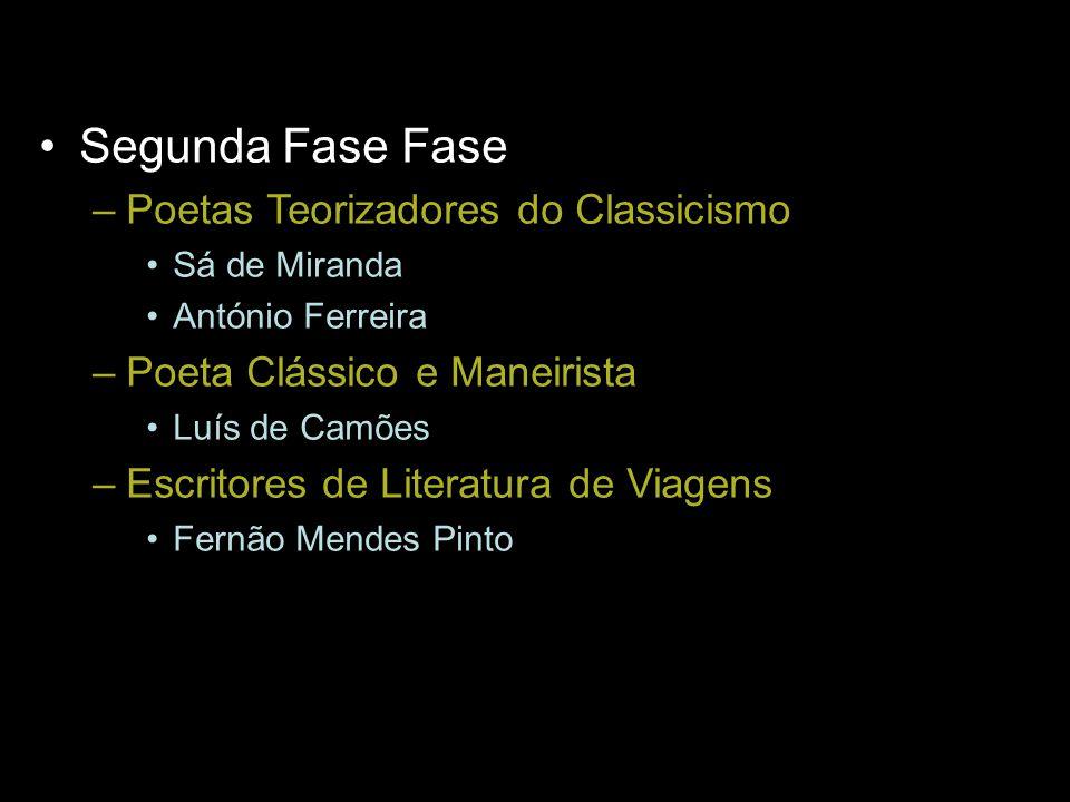 Segunda Fase Fase –Poetas Teorizadores do Classicismo Sá de Miranda António Ferreira –Poeta Clássico e Maneirista Luís de Camões –Escritores de Litera