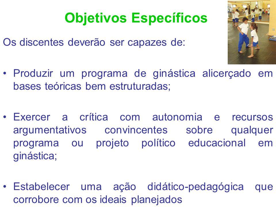 Objetivos Específicos Os discentes deverão ser capazes de: Produzir um programa de ginástica alicerçado em bases teóricas bem estruturadas; Exercer a