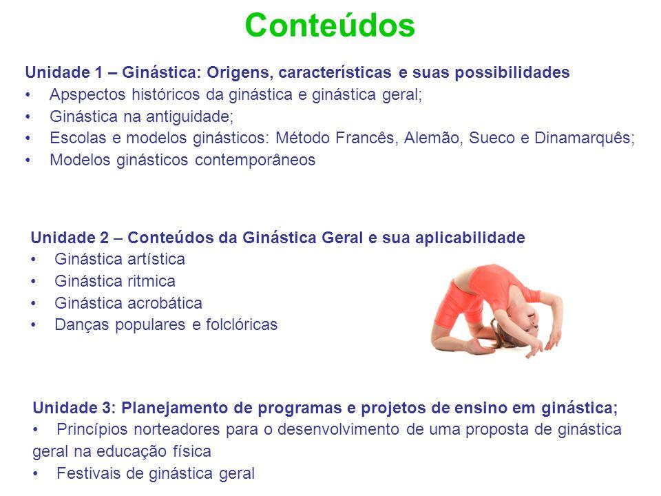 Conteúdos Unidade 1 – Ginástica: Origens, características e suas possibilidades Apspectos históricos da ginástica e ginástica geral; Ginástica na anti