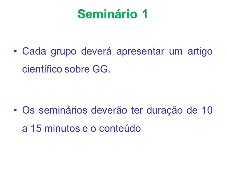 Seminário 1 Cada grupo deverá apresentar um artigo científico sobre GG. Os seminários deverão ter duração de 10 a 15 minutos e o conteúdo