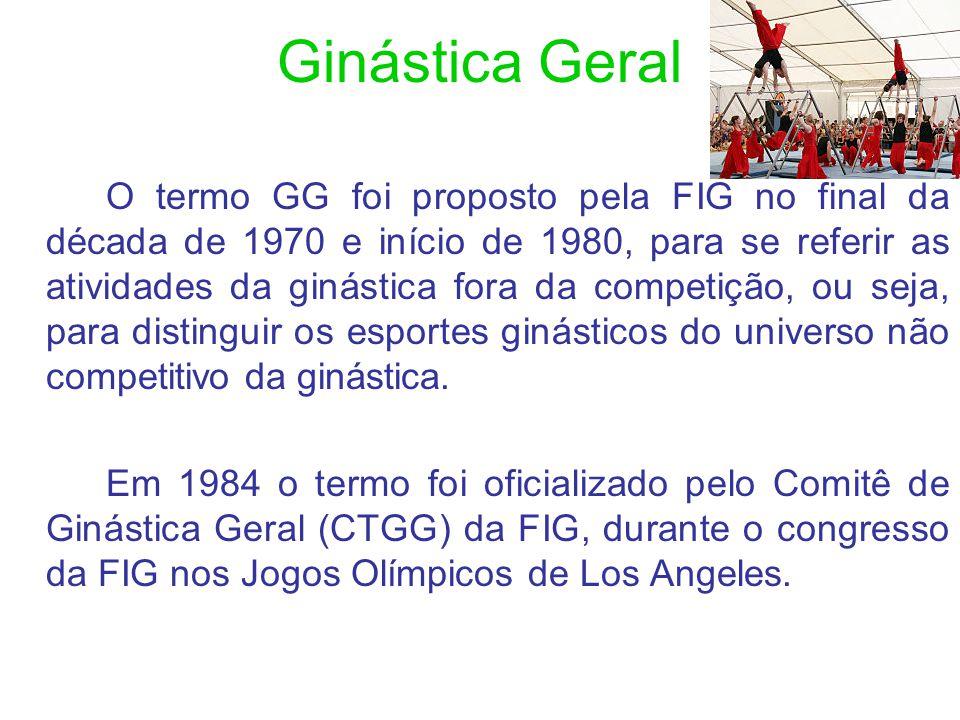 A concepção da GG da FIG A GG compreende a esfera de ginástica orientada para o lazer e engloba programas de atividades no campo da ginástica (com e sem aparelhos), dança e jogos, conforme as preferências nacionais e culturais.