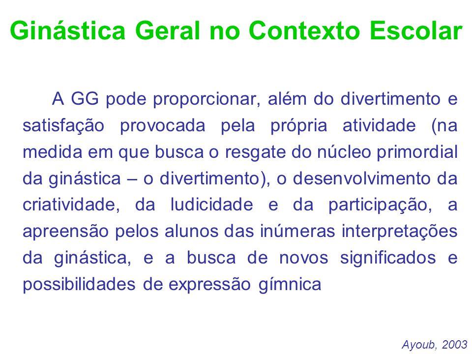 Ginástica Geral no Contexto Escolar A GG pode proporcionar, além do divertimento e satisfação provocada pela própria atividade (na medida em que busca
