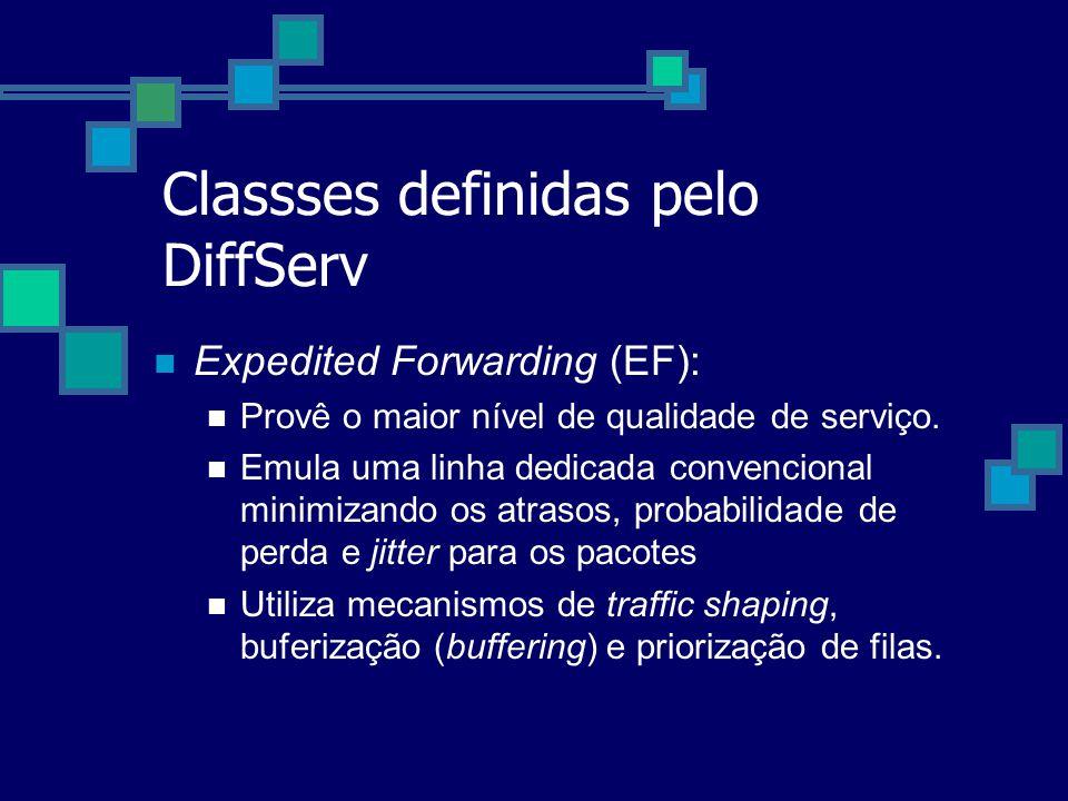 Classses definidas pelo DiffServ Expedited Forwarding (EF): Provê o maior nível de qualidade de serviço. Emula uma linha dedicada convencional minimiz