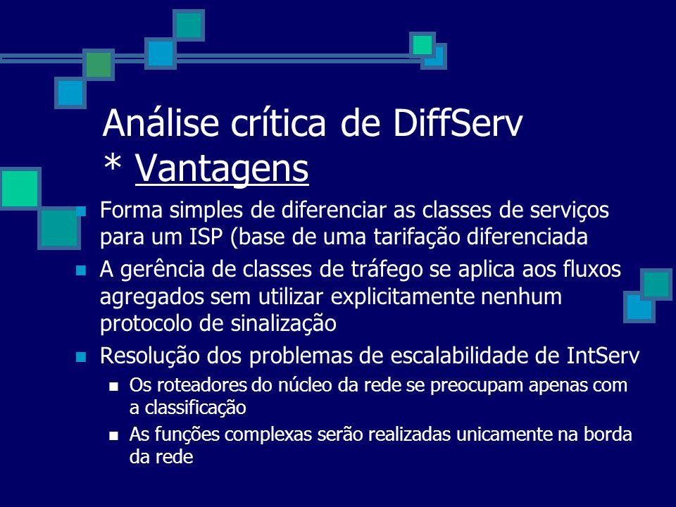Análise crítica de DiffServ * Vantagens Forma simples de diferenciar as classes de serviços para um ISP (base de uma tarifação diferenciada A gerência