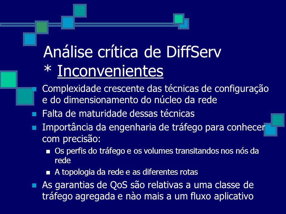 Análise crítica de DiffServ * Inconvenientes Complexidade crescente das técnicas de configuração e do dimensionamento do núcleo da rede Falta de matur