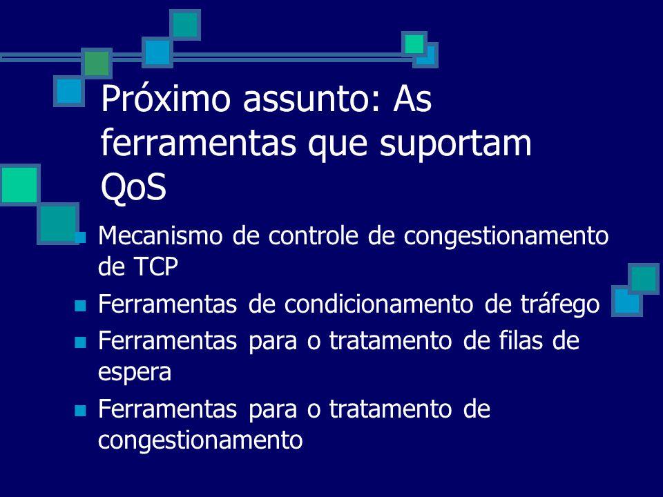 Próximo assunto: As ferramentas que suportam QoS Mecanismo de controle de congestionamento de TCP Ferramentas de condicionamento de tráfego Ferramenta