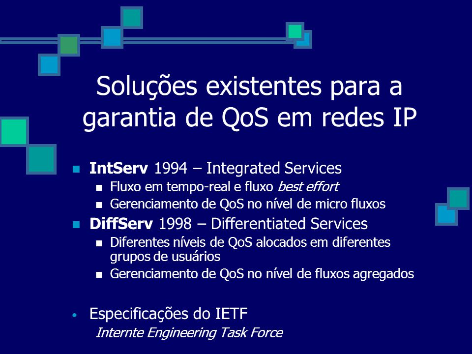 Soluções existentes para a garantia de QoS em redes IP IntServ 1994 – Integrated Services Fluxo em tempo-real e fluxo best effort Gerenciamento de QoS