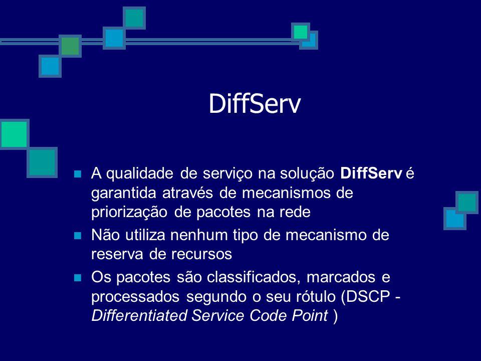 DiffServ A qualidade de serviço na solução DiffServ é garantida através de mecanismos de priorização de pacotes na rede Não utiliza nenhum tipo de mec