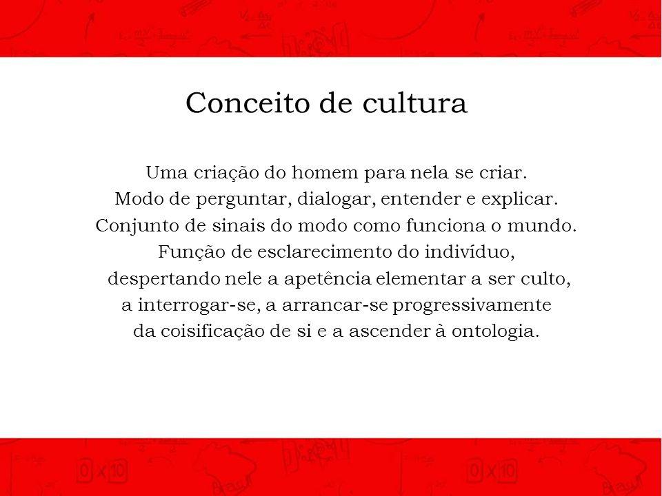 Conceito de cultura Uma criação do homem para nela se criar. Modo de perguntar, dialogar, entender e explicar. Conjunto de sinais do modo como funcion