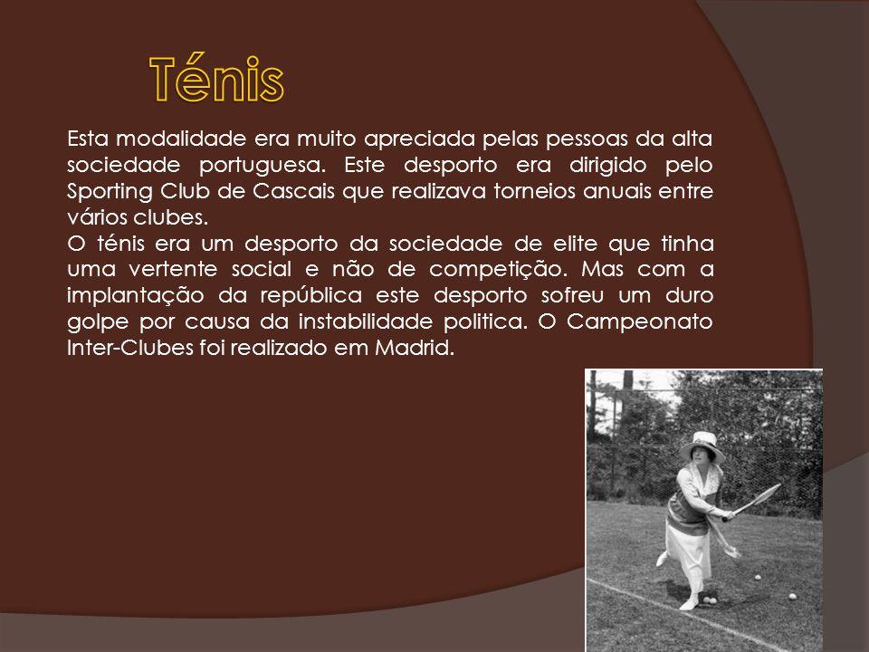 Esta modalidade era muito apreciada pelas pessoas da alta sociedade portuguesa. Este desporto era dirigido pelo Sporting Club de Cascais que realizava