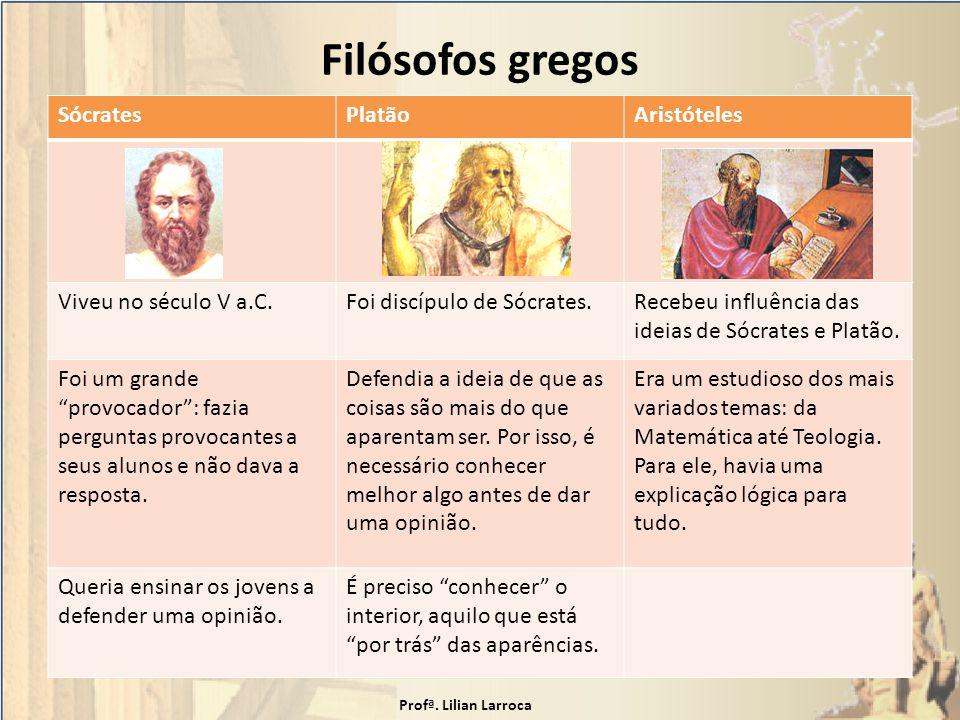 Filósofos gregos SócratesPlatãoAristóteles Viveu no século V a.C.Foi discípulo de Sócrates.Recebeu influência das ideias de Sócrates e Platão. Foi um