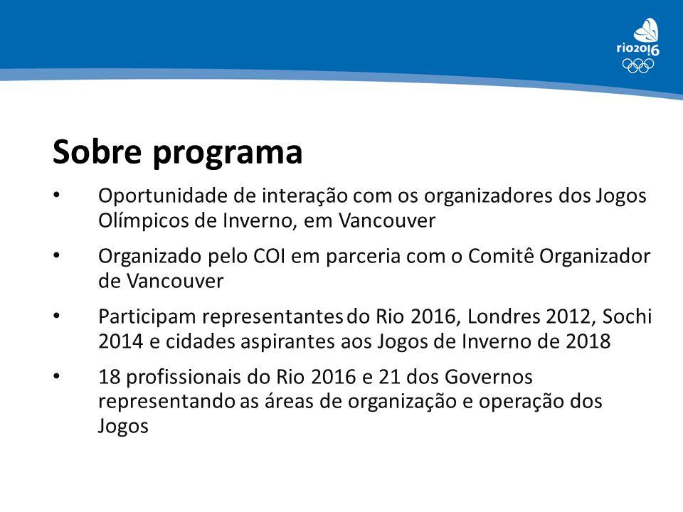 Sobre programa Oportunidade de interação com os organizadores dos Jogos Olímpicos de Inverno, em Vancouver Organizado pelo COI em parceria com o Comit