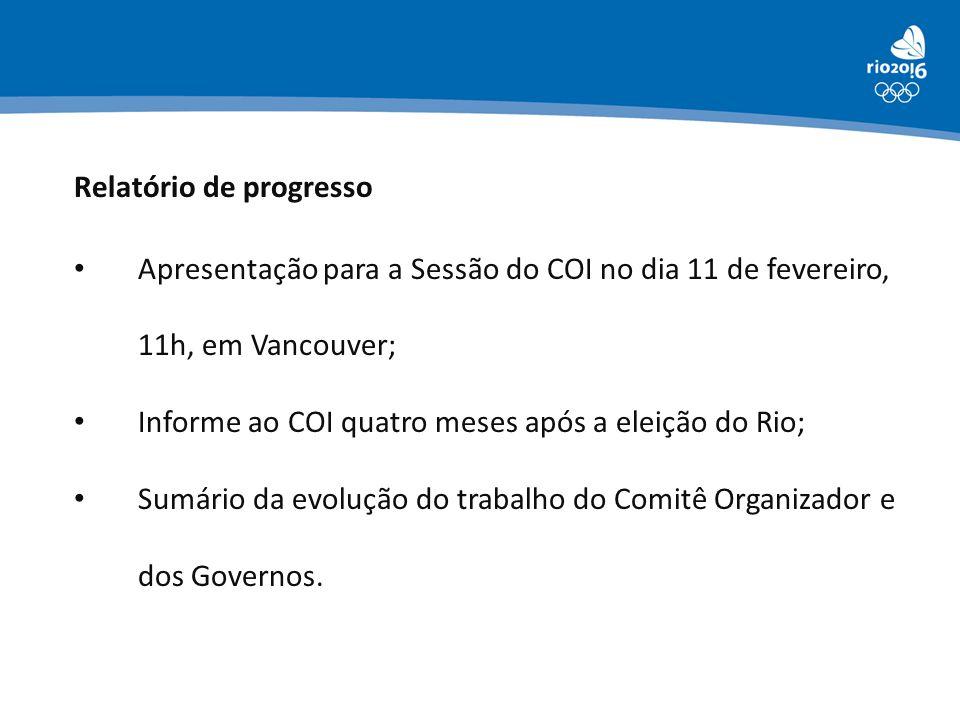 Apresentação para a Sessão do COI no dia 11 de fevereiro, 11h, em Vancouver; Informe ao COI quatro meses após a eleição do Rio; Sumário da evolução do