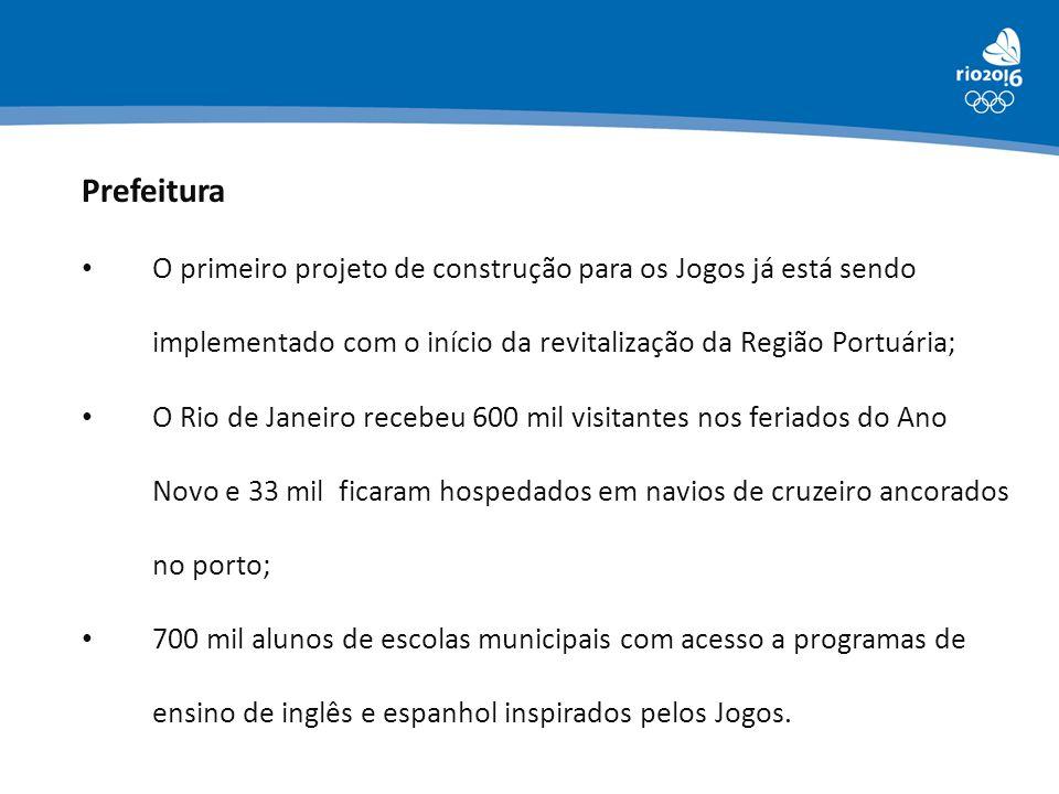 Prefeitura O primeiro projeto de construção para os Jogos já está sendo implementado com o início da revitalização da Região Portuária; O Rio de Janei