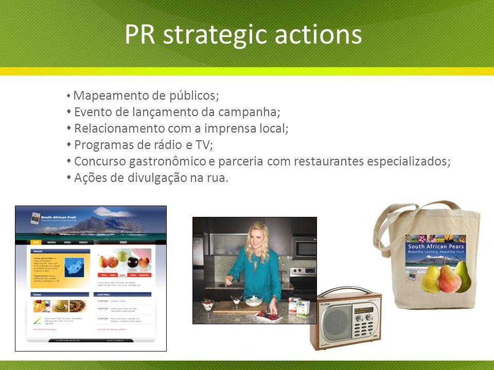 PR strategic actions Mapeamento de públicos; Evento de lançamento da campanha; Relacionamento com a imprensa local; Programas de rádio e TV; Concurso gastronômico e parceria com restaurantes especializados; Ações de divulgação na rua.