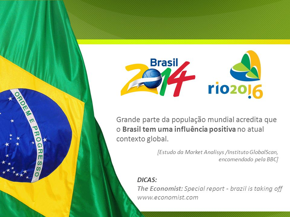 Grande parte da população mundial acredita que o Brasil tem uma influência positiva no atual contexto global.