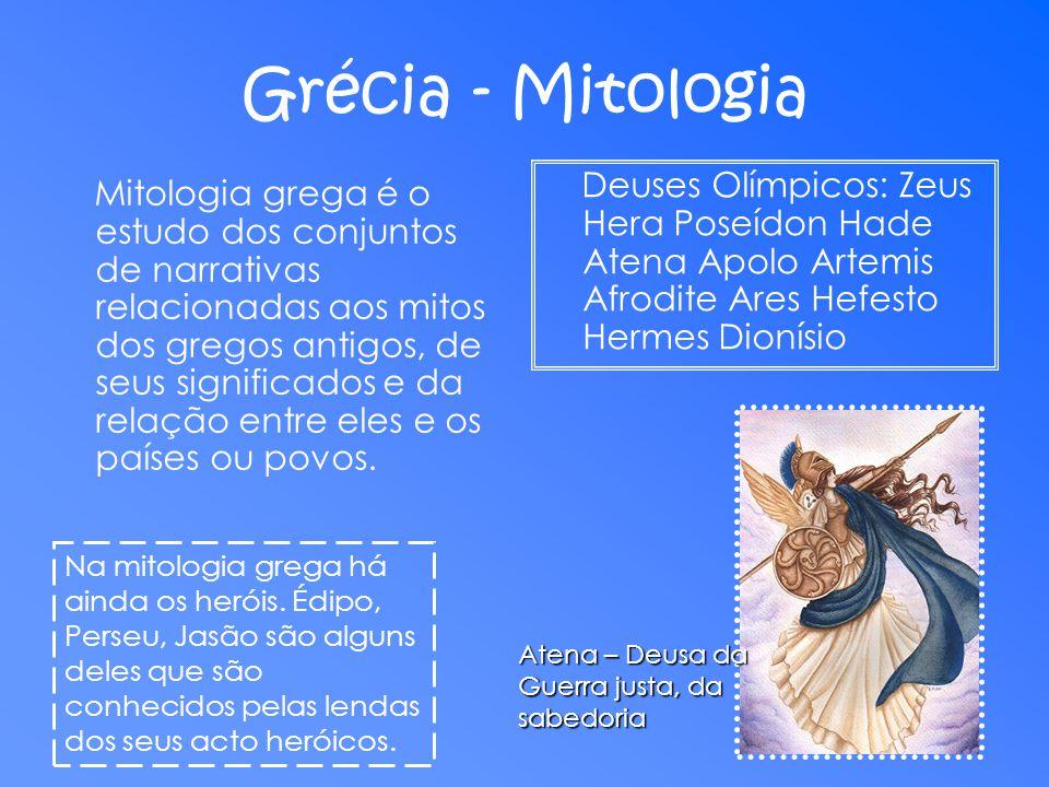 Grécia - Mitologia Mitologia grega é o estudo dos conjuntos de narrativas relacionadas aos mitos dos gregos antigos, de seus significados e da relação