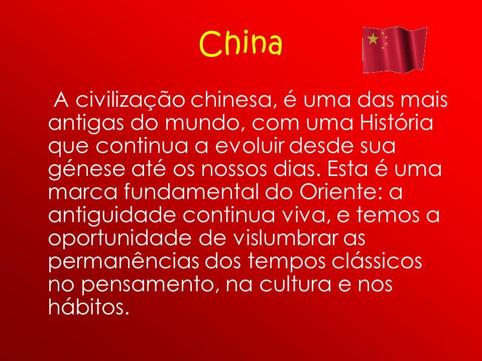 China A civilização chinesa, é uma das mais antigas do mundo, com uma História que continua a evoluir desde sua génese até os nossos dias. Esta é uma