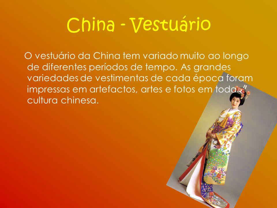 China - Vestuário O vestuário da China tem variado muito ao longo de diferentes períodos de tempo. As grandes variedades de vestimentas de cada época