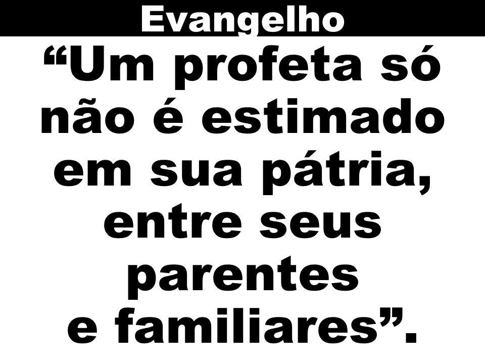 Um profeta só não é estimado em sua pátria, entre seus parentes e familiares. Evangelho