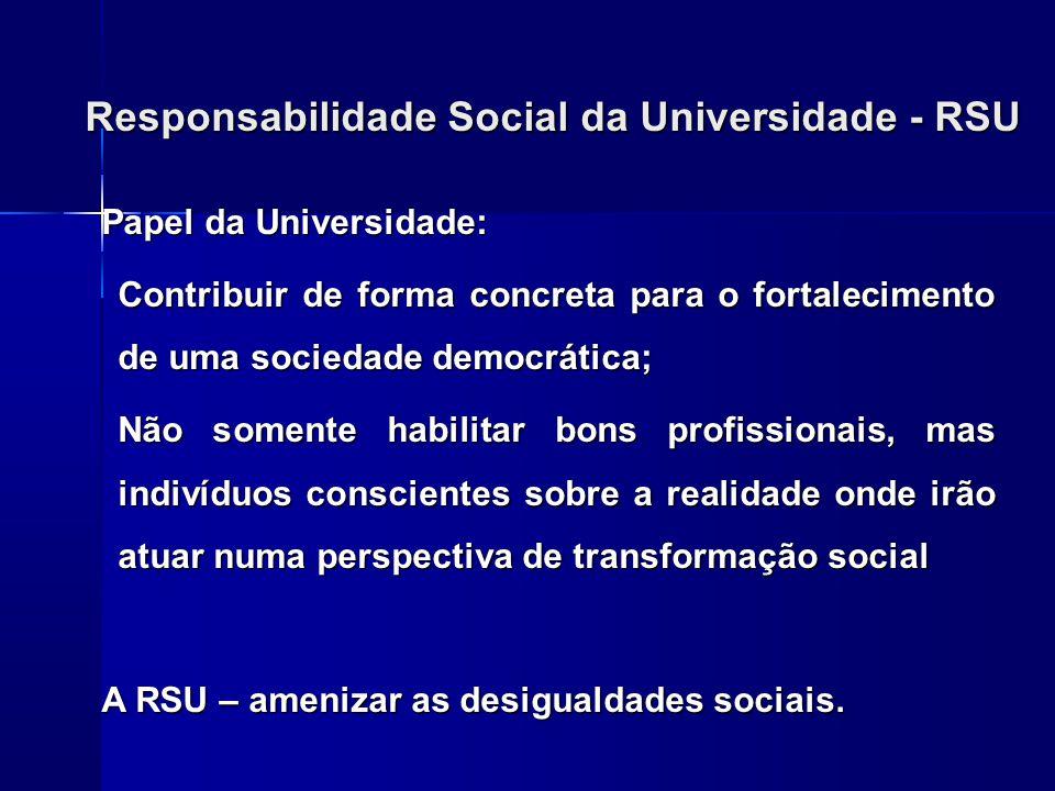 Responsabilidade Social da Universidade - RSU Papel da Universidade: Contribuir de forma concreta para o fortalecimento de uma sociedade democrática;