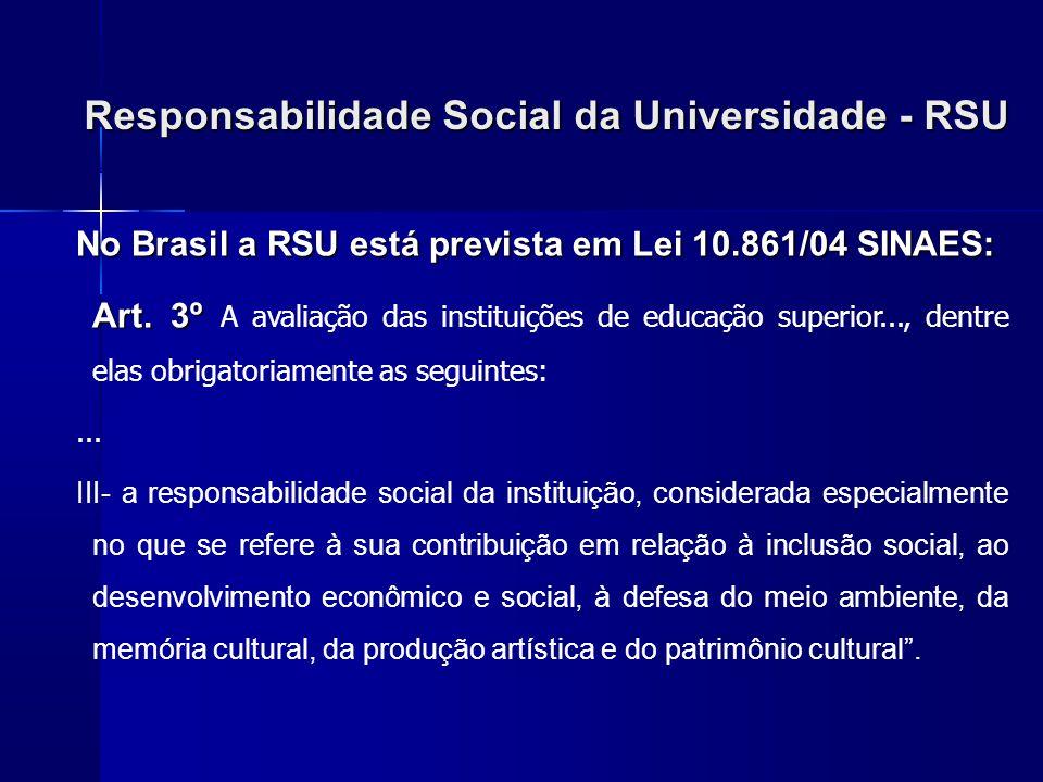 Responsabilidade Social da Universidade - RSU No Brasil a RSU está prevista em Lei 10.861/04 SINAES: Art. 3º Art. 3º A avaliação das instituições de e