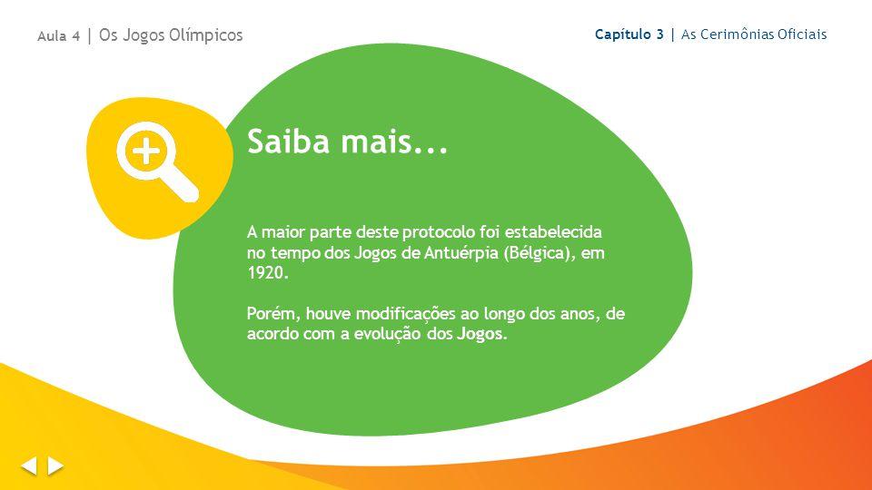 Saiba mais... A maior parte deste protocolo foi estabelecida no tempo dos Jogos de Antuérpia (Bélgica), em 1920. Porém, houve modificações ao longo do