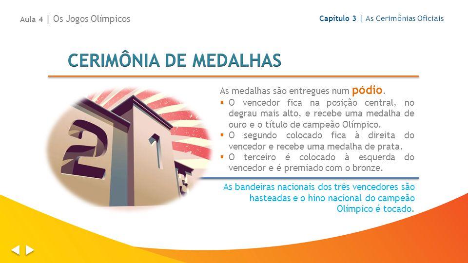 As medalhas são entregues num pódio. O vencedor fica na posição central, no degrau mais alto, e recebe uma medalha de ouro e o título de campeão Olímp