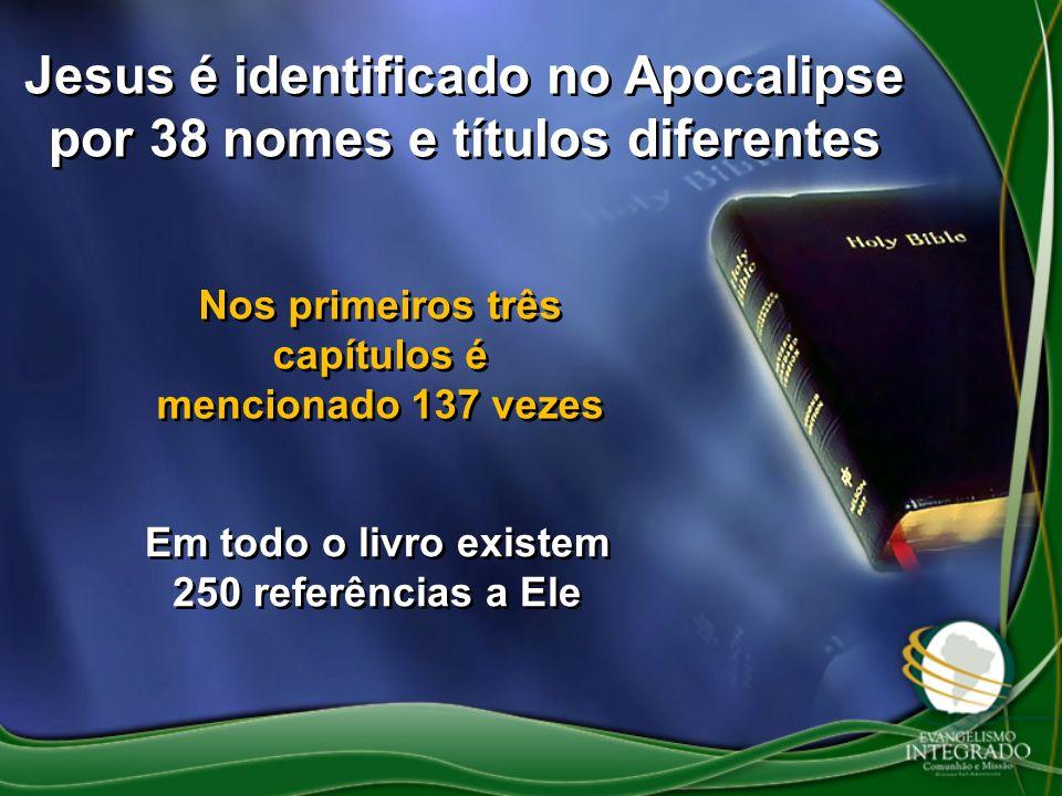 Jesus é identificado no Apocalipse por 38 nomes e títulos diferentes Nos primeiros três capítulos é mencionado 137 vezes Em todo o livro existem 250 r