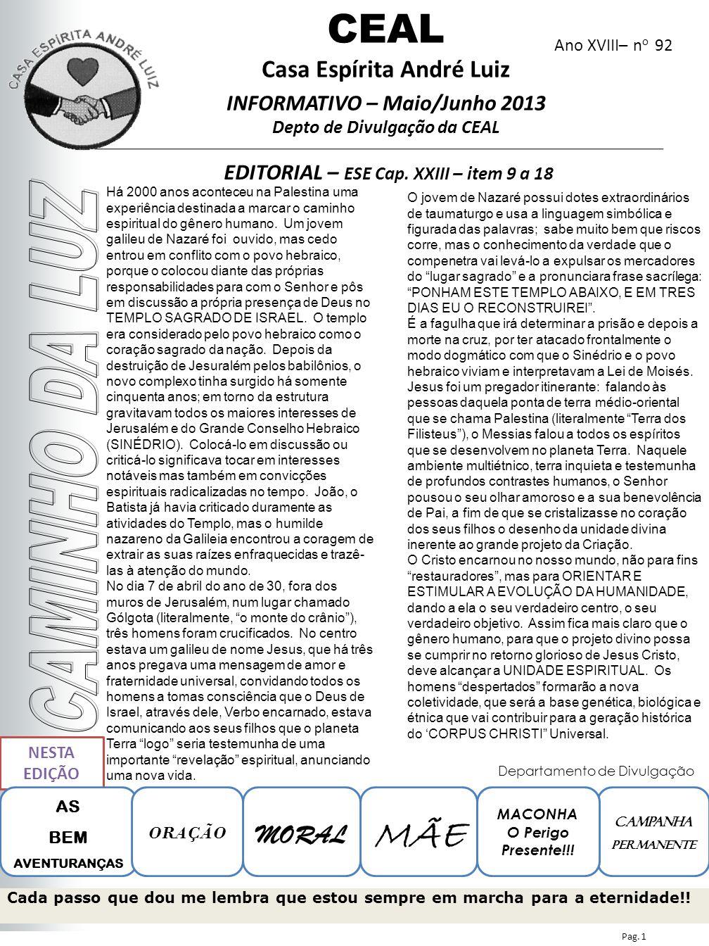 Ano XVIII– n o 92 EDITORIAL – ESE Cap. XXIII – item 9 a 18 CEAL Casa Espírita André Luiz INFORMATIVO – Maio/Junho 2013 Depto de Divulgação da CEAL NES