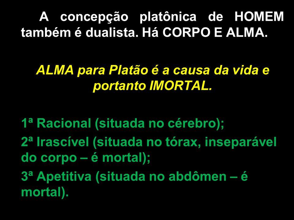 A concepção platônica de HOMEM também é dualista. Há CORPO E ALMA. ALMA para Platão é a causa da vida e portanto IMORTAL. ALMAS PLATÔNICA: 1ª Racional