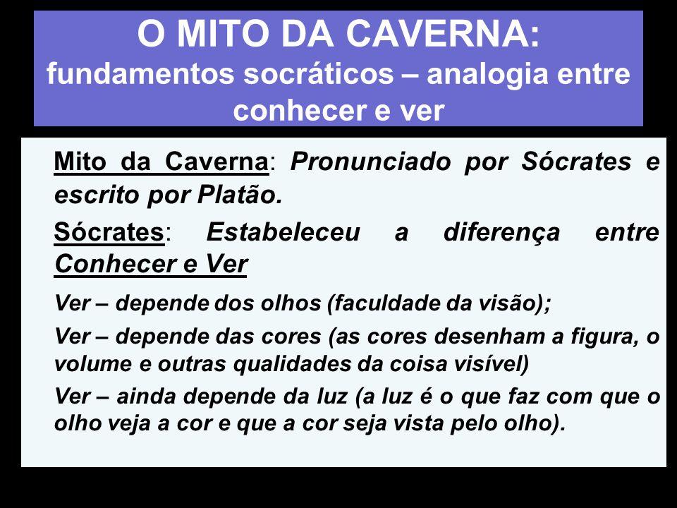 O MITO DA CAVERNA: fundamentos socráticos – analogia entre conhecer e ver Mito da Caverna: Pronunciado por Sócrates e escrito por Platão. Sócrates: Es