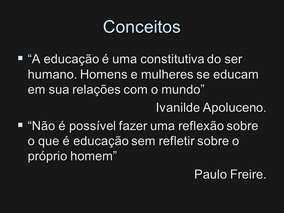 Conceitos A educação é uma constitutiva do ser humano. Homens e mulheres se educam em sua relações com o mundo A educação é uma constitutiva do ser hu