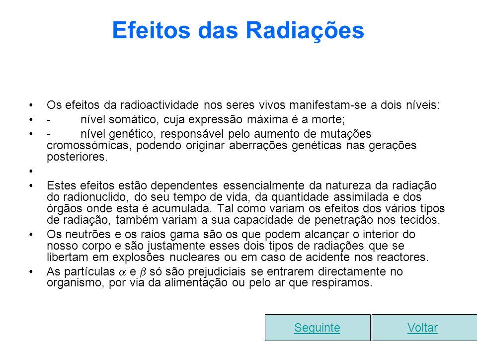 Efeitos das Radiações Os efeitos da radioactividade nos seres vivos manifestam-se a dois níveis: - nível somático, cuja expressão máxima é a morte; -