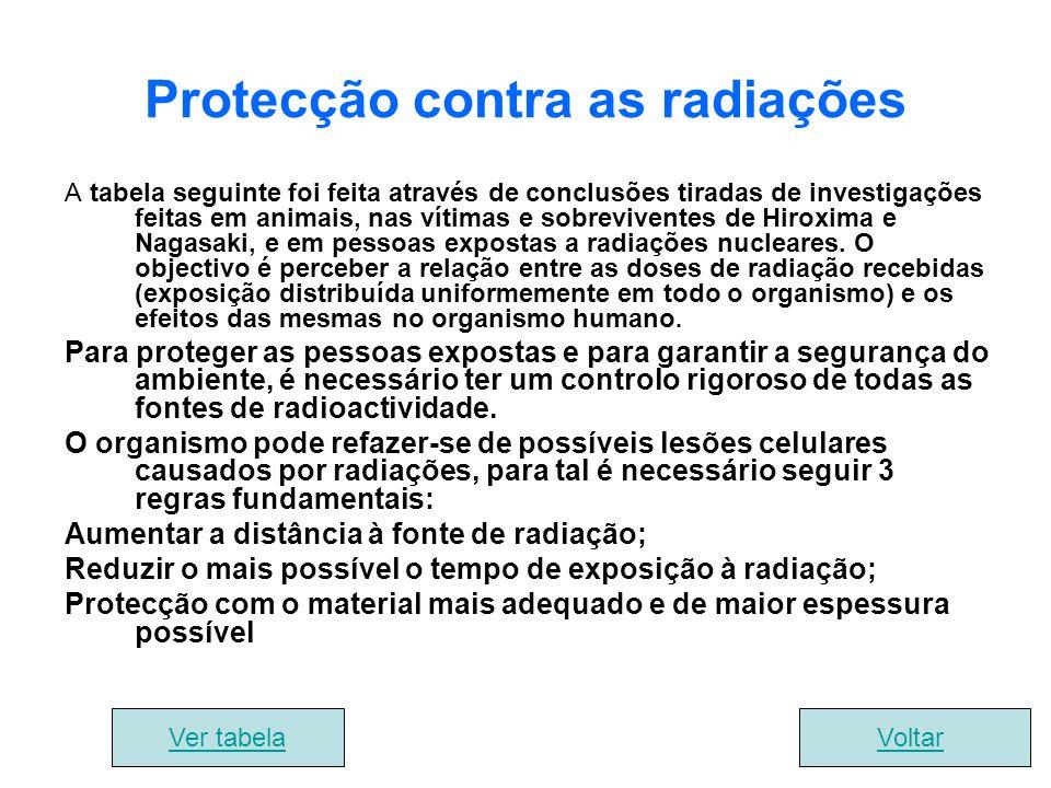 Protecção contra as radiações A tabela seguinte foi feita através de conclusões tiradas de investigações feitas em animais, nas vítimas e sobrevivente