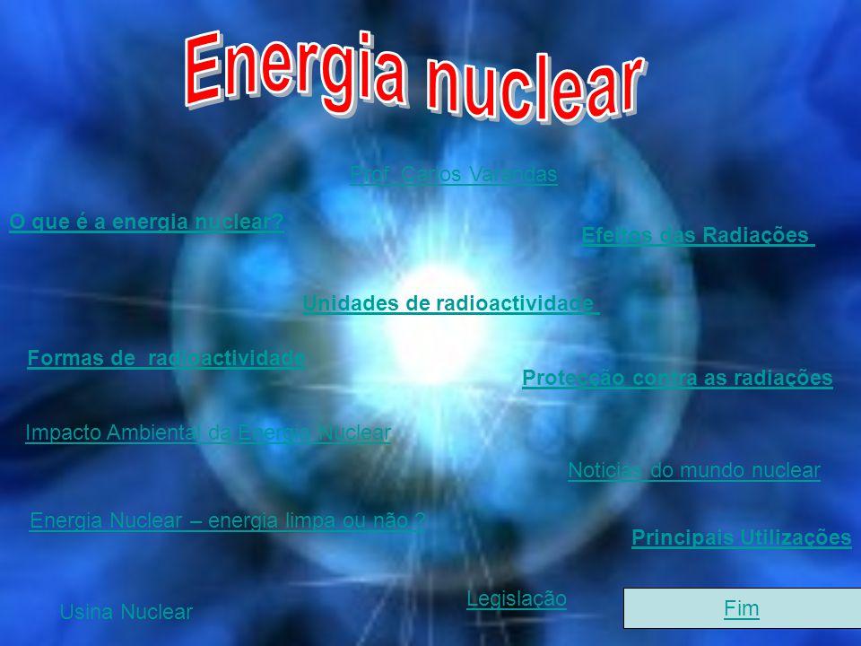 O que é a energia nuclear? Unidades de radioactividade Formas de radioactividade Impacto Ambiental da Energia Nuclear Efeitos das Radiações Protecção