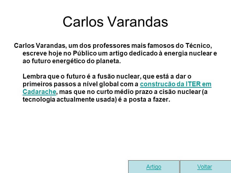 Carlos Varandas Carlos Varandas, um dos professores mais famosos do Técnico, escreve hoje no Público um artigo dedicado à energia nuclear e ao futuro