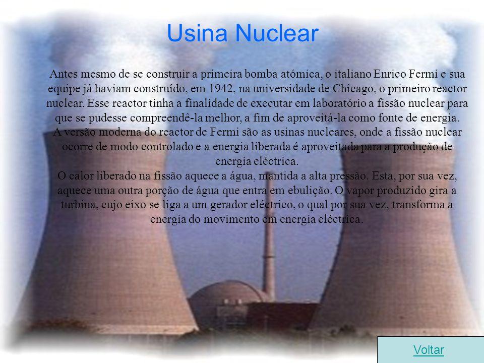 Usina Nuclear Antes mesmo de se construir a primeira bomba atómica, o italiano Enrico Fermi e sua equipe já haviam construído, em 1942, na universidad